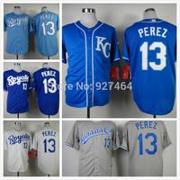 cheap stitched 2014 Kansas City Royals Salvador Perez cool base men's baseball jersey/ shirt