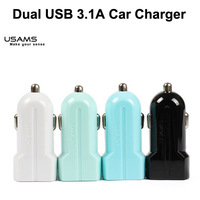 500pcs/Lot , Bestselling 3.1A Car Charger  for iPhone 6 6 plus ipod ipad Tablets USAMS 2Gen 2 Ports USB Wholesale