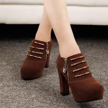 mujer plataforma botas tacones gruesos sintética cremallera de gamuza para mujer botines de moda sexy señoras otoño botas zapatos al por mayor(China (Mainland))