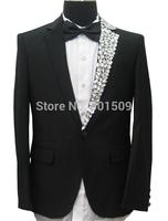 single collar beading mens hand sewing rhinestone beading collar tuxedo jacket  stage performance rhinestone jacket