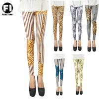 Fancyinn Brand Winter Thin Super Elastic Colorful Leopard Stripe print Women Leggings Skinny Casual Lady Pant