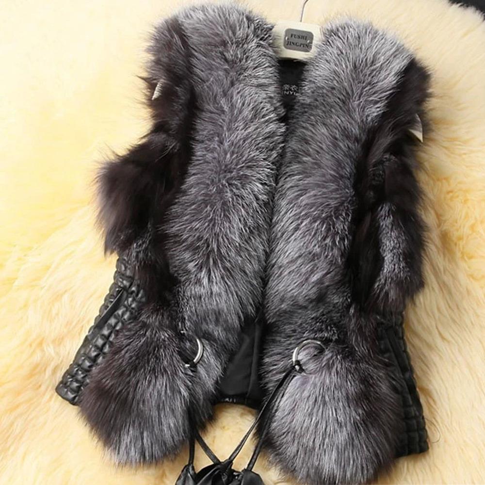 2015 Womens Faux Fur Vest Leather Coat Waistcoat Plus Size Jacket Vest Winter Coat Gilet Adjustable Belt Luxury Free Shipping(China (Mainland))