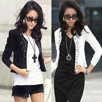 New Arrival Women Blazer Fashion Design with Rivet White Black Size S,M,L,XL,XXL Slim Blazer Puff Sleeve Natural Color NZH023