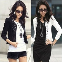 New Arrival Women Blazer Fashion Design with Rivet White Black Size S,M,L,XL,XXL Slim Blazer Puff Sleeve Natural Color NZH023