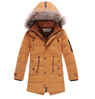 2014 New   Autumn and winter  Kids  Children Down  Boys  Long stylish casual jacket  Down coat
