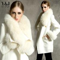 2014  Europe fashion women coat wool Turn-down Collar winter Heavy fur coat cloth coat female long white woolen jacket  coat