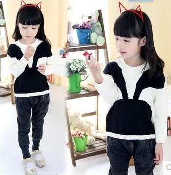 Free shipping new 2014 girls autumn/winter wear girls rabbit pattern sweater children clothing baby sweater 1pcs my-0159(China (Mainland))