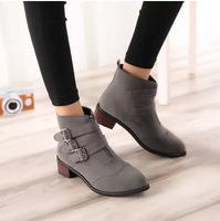 Free shipping hot sale  New 2014 autumn and winter female buckle boots low heeled ankle martin boot