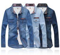 Mens Jeans Shirt Cowboy Shirt Top Button Light Blue/ Dark Blue Men Denim Shirt Size M-XXL CF01