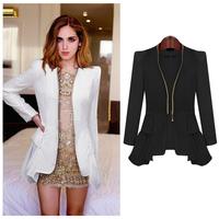 High Street Women Ruffled Blazer,Woman Slim Zipper Closure Office OL Formal Coat Lady Long Sleeve Ruffle Outerwear and Jacket
