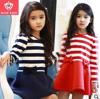 2014 girls stripe dress girl autunm chiffon dresses kids princess dress 5pcs.lot 2 colors