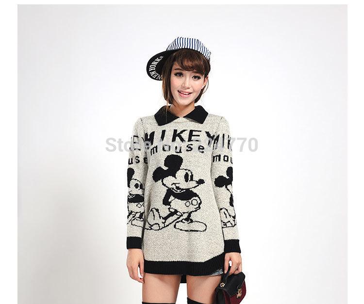 El nuevo arriver europeo moda mujeres ropa ratón de dibujos animados impreso Mickey o-cuello de apertura de cama suéter de cuello(China (Mainland))