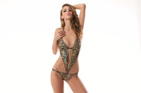 Sexy Women Lady Lingerie Print color light Leopard Conjoined Underwear +G-String Set 0S 215
