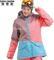 2014 new womens color matching ski jacket blue pink snowboarding jackets skiing jacket for women anorak skiwear 10K free ship