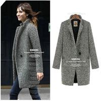 2014 new fashion Europe & United States woman warm winter thickening jacket British wind coat long wool coat woollen womencoat