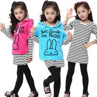Retail&wholesale new sweet girls clothing sets,kids fashion,princess long sleeve t shirt+legging+coat suit,children outerwear