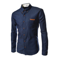 2014 Mens New Leisure Features Standard Leather Pocket Slim Long-sleeved Shirt Free Shipping 2Colors M-XXL 4[9832]
