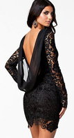 Sexy Black dress Crochet Open Back Vintage Dress 21138 vestido curto de renda festa casual lace loose Dresses