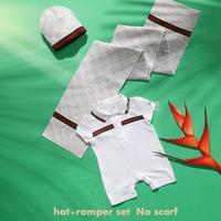 2014 New Autumn Summer Baby Kids Short Sleeve Cotton Romper Hat 2Pcs/Set Baby Clothing 6-24M New Born Brand Design High Quality