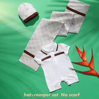 2014 New Autumn Summer Baby Kids Short Sleeve Cotton Romper Hat 2Pcs/Set Baby Clothing 6-24M New Born Brand Design High Quality