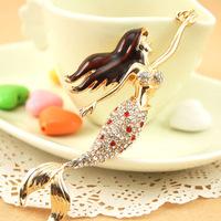 Christmas Gift, Full Rhinestone,Sexy sea-maid mermaid Keychain Alloy Keyring handBag Charm Real Gold Plated,Best Present