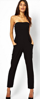 Clothing Sexy Vogue Tube Top Off Shoulder Black Jumpsuit pants LC 6425 evening rompers womens jumpsuit
