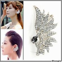 Fashion Korean Gothic Rock Punk Temtation Metallic Ear Cuff Wrap Clip Ear Hot Silver Rhinestone Earrings Jewelry for women