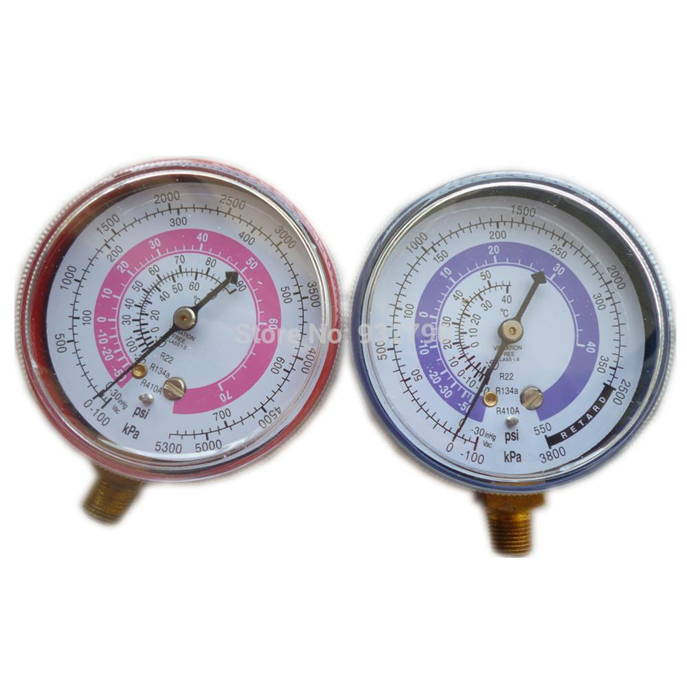 Pair Air Conditioner R410A R134A R22 Refrigerant Low&High Pressure Gauge PSI KPA A/C Refrigeration Pressure Gauge Coolant Meter(China (Mainland))