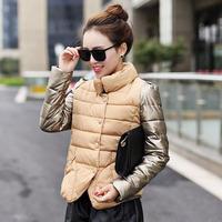 Winter 2014 new women's Korean slim down garment female splicing thickened down jacket coat