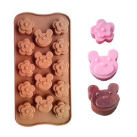 Silicone Mold flowers and bear Cake Bakeware Tools Chocolate Ice Mold Cake Decoration Jelly Pudding Kitchen Cooking