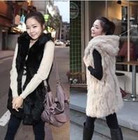 Fur big code waistcoat female Korean Winter Hat imitation fur Hooded Vest in long vest