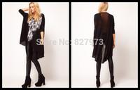 2014 rock and roll wind skulls of printing dovetail pendulum fashion sexy Net yarn cross stitching back women T-shirt