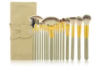 new 18pcs/set cosmetic brush set 18 pcs golden makeup brushes kit gold make up brush set tools+beige case free shipping CZ020