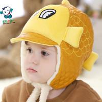 Baby Kids Plush Hats Happy Fish Design Children Boy/Girl Leifeng Hats Infants Warm Flat Caps 1pc Free Shipping MZD-1442