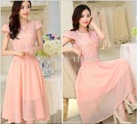 2014 Summer New Women's Dress Lace Chiffon Dress Women's Short-sleeved Round Neck Casual Dress For Female