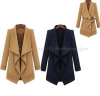 Fashion Winter Womens Woolen Blend Outwear Fur Collar Coat Jacket Lapel Coat B-0039