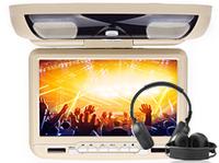 "9"" Car Overhead DVD Player headup monitor auto video display with IR headphone Game DVD USB SD Mp3 CD Player Sony Lens Cream"