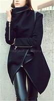 Pop Womens Winter Warm Zipper PU Edge Leather Coat Jacket Outwear B-0040
