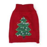New 2014 Brand New Pet Dog Puppy Cozy Knit Sweater Apparel Clothing Christmas tree Patterns Knitwear 4 Sizes Free Shipping