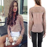 S-XL new Women Lace Sleeve Chiffon Blouses Tops Embroidery Gorgeous Shirts long Sleeve elegante Crochet Trim Blouse LJ024XGJ