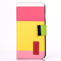 High quality Hybrid color wallet Flip leather Case Cover for iphone 6 4.7 inch free shipping