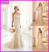 Vestidos De Novia Custom Made Sweetheart Beading Lace Mermaid Wedding Dresses 2014 Sexy Ivory Bridal Gown QB-256