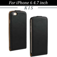 100pcs/lot Free Shipping Magnetic Flip Genuine Leather Case For iPhone 6 4.7 inch