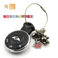 MINI Cooper One S Car remote key holder keychain key ring, Mouse Union Jack Fashion key chain