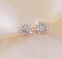 Free Shipping, Wholesale 10 Pairs Beautiful Charm Full Rhinestone Round Earring Elegant Stud Earrings Jewelry, JW38-10