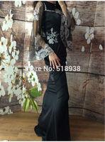 New 2014 autumn winter women vintage fashion black mermaid sheer embroidery long dress floor length flare sleeve dresses brand