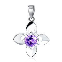 Wholesale GND0831 Fashion Sweet Lucky Four Clover Leaf Pendant Charms Pure 925 Sterling Silver Pendant for Women Free Shipping