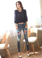 Free shipping new flag patchwork sexy ripped hole women's stretch denim jeans long feet pencil pants