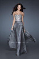 Glamorous dress with sequined large stones that continue across the criss-cross back straps evening dresses 2015 FSL-328