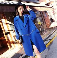 new 2014 autumn winter coat for women wollen X-long solid zipper decoration jacket loose wool&blends thick warm coats fw-489